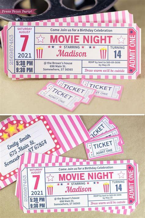 night invitation printables red vintage ticket