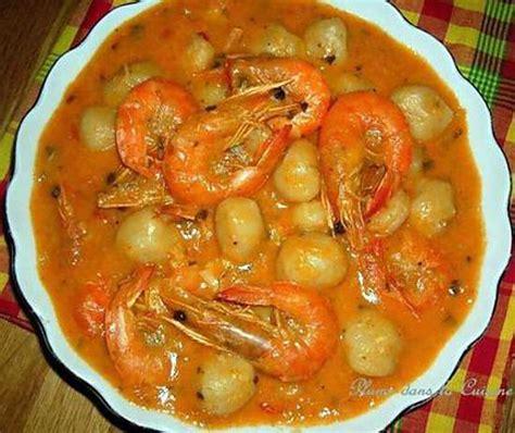 recette de dangoué de crevettes au lait de coco plat