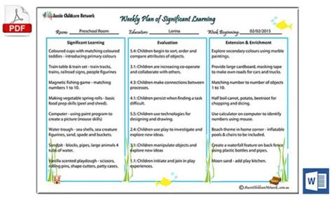 curriculum template weekly plan  significant