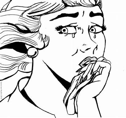 Crying Drawing Cartoon Sad Person Clipart Coloring