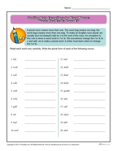 worksheets plural nouns ending f fe spelling rule exception for plural nouns word endings f