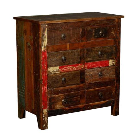 Rustic Reclaimed Wood 8 Drawer Double Dresser Bedroom Chest