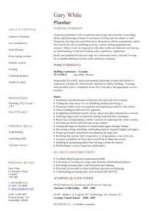 plumbing foreman resume templates plumber cv sle