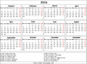 2016 Calendar with Holidays Printable