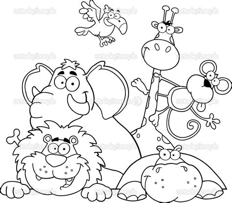 jungle animals coloring page  coloring pages