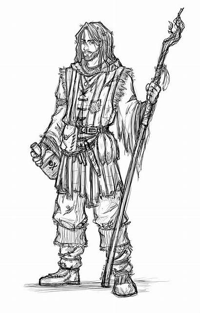 Fantasy Male Dungeons Dragons Druid Characters Draw