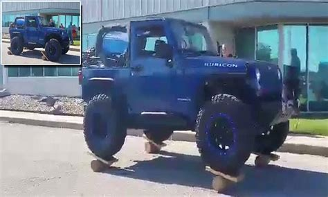 justin timberlake jeep jeep wrangler driver manages to get his vehicle to balance