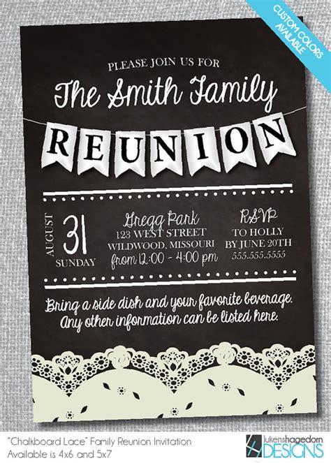 family reunion chalkboard invitation  lace digital