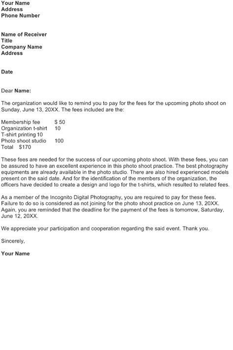 reminder letter sample   business letter