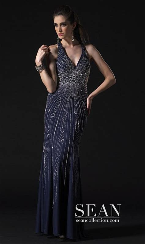 prom dresses  sean couture navy silver gown