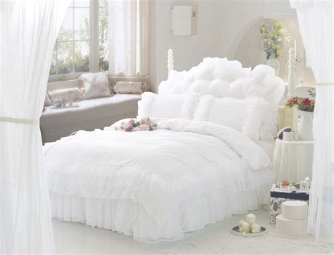 white ruffle comforter white ruffle lace princess bedding set sets