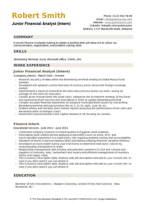 junior financial analyst resume samples qwikresume