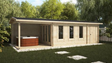 gartenhaus mit schuppen gartenhaus mit veranda und schuppen e 18 m2 9 x 3 m 44 mm hansagarten24