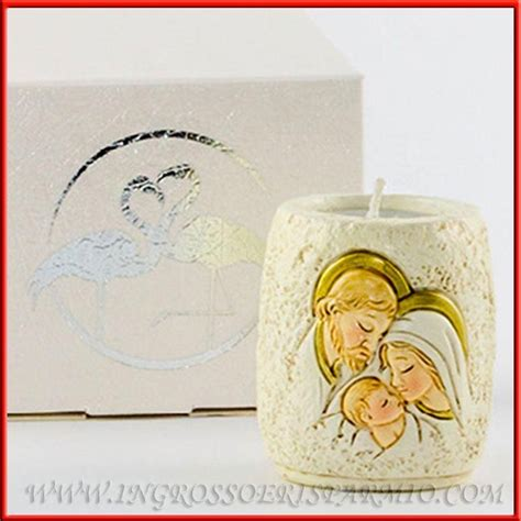 candele bomboniere battesimo porta candele bomboniere sacra famiglia effetto pietra