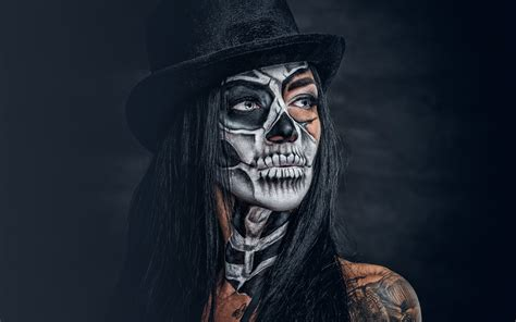 Pictures Brunette Girl Makeup Day Of The Dead Hat Girls