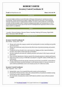 Build A Resume For Free And Download Inventory Control Coordinator Resume Samples Qwikresume
