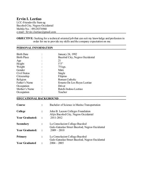 resume for apprenticeship deck cadet sle leetiao resume