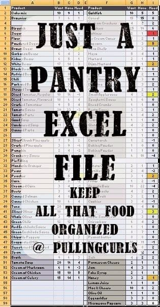 pantry inventory spreadsheet pulling curls