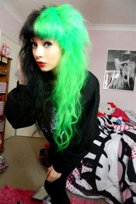 Half And Half Neon Green And Black Hair Hair