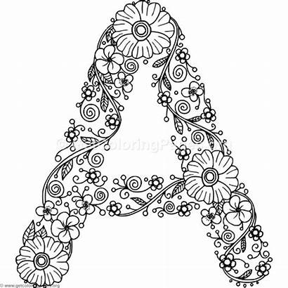 Letter Coloring Alphabet Floral Flower Letters Mandala
