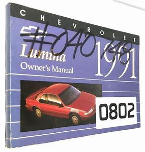1991 91 Chevy Chevrolet Lumina Owners Owners Manual Guide