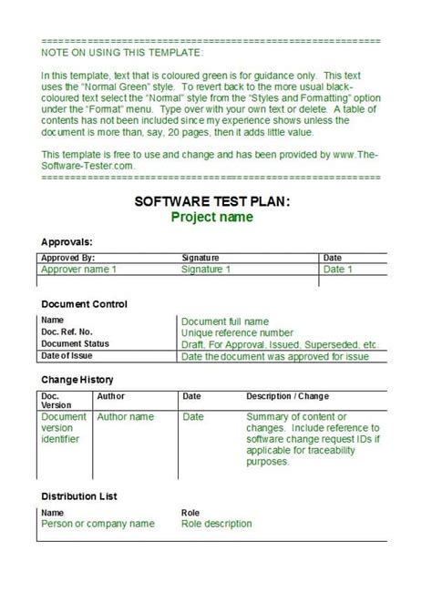 Test Plan Template 35 Software Test Plan Templates Exles Template Lab