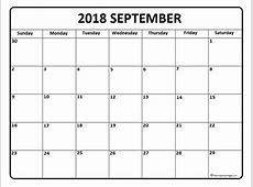 Free September 2018 Calendar A4 Template Download
