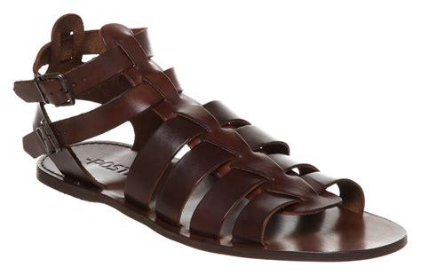 Mens Poste Poste Gladiator Sandal Choc Leather Sandals
