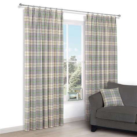 green check curtains christel green lilac check pencil pleat lined curtains 1353