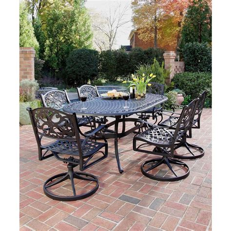 31691 patio dining chairs gorgeous home styles biscayne black 7 swivel patio dining set