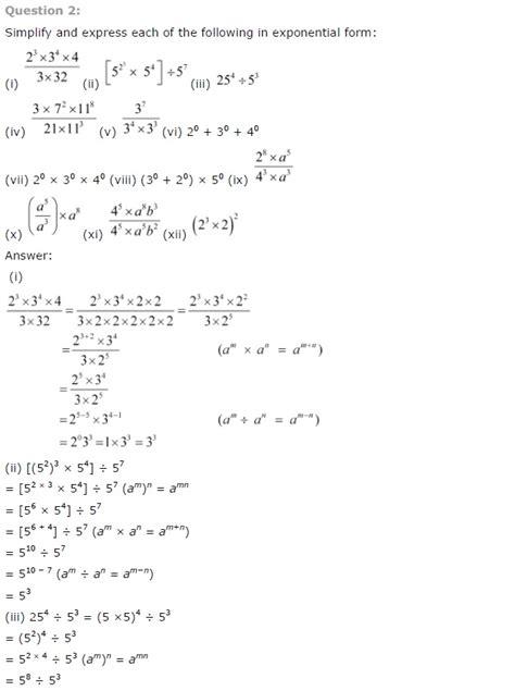 ncert solutions  class  maths chapter  exponents