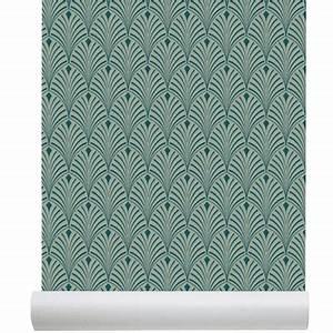 Papier Peint Bleu Canard : papier peint intiss c me art d co design chic bleu ~ Farleysfitness.com Idées de Décoration