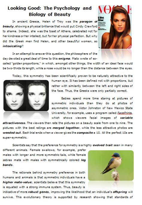 reading worksheet  good  psychology  biology  beauty