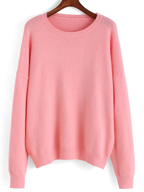 Round Neck Knit Pink SweaterFor Women-romwe