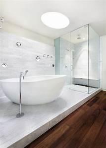la salle de bains blanche design en 75 idees With idee deco salle de bain moderne