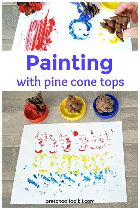 painting  pine cones art activity  preschoolers