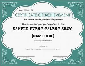 talent show award certificates for ms word professional With talent show certificate template