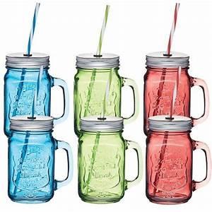 Mason Jar Paille : mug mason jar couleur 450ml x6 avec paille homemade ~ Teatrodelosmanantiales.com Idées de Décoration