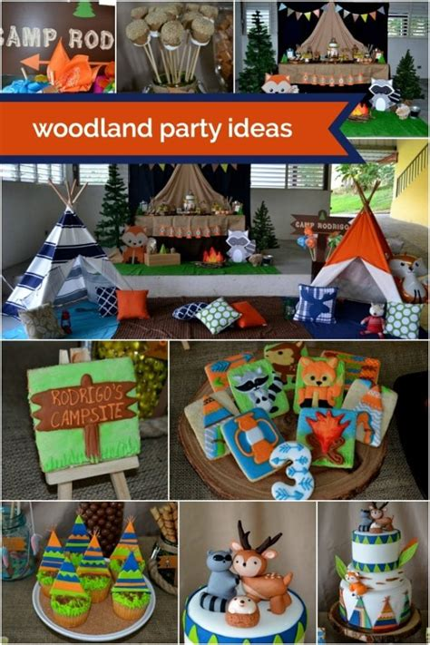 woodland themed camping birthday party spaceships