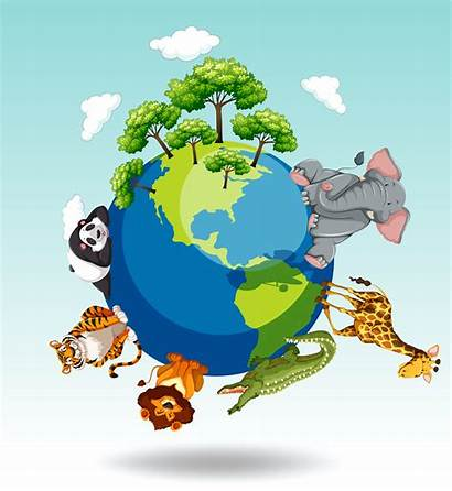 Animals Around Wild Vector Jungle Clipart Illustration