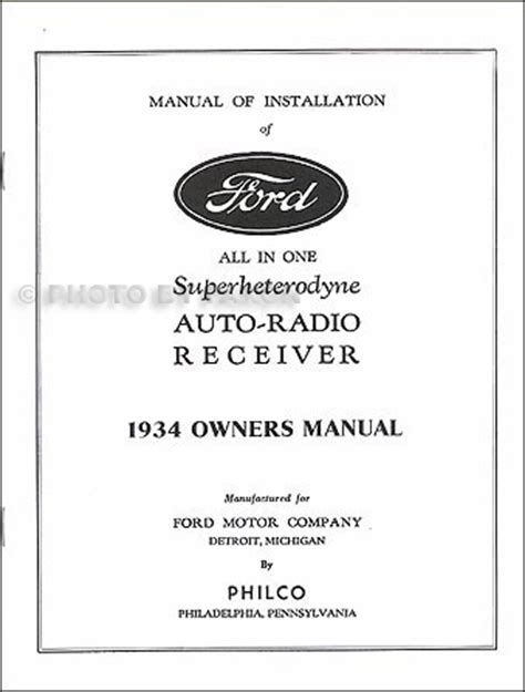 ford philco radio installation owners manual reprint