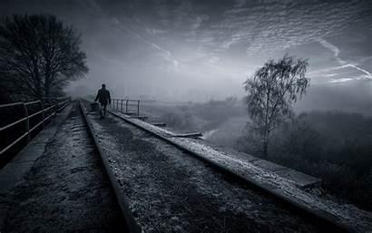 Dark Nature Clouds Landscape Walking Railway Desktop
