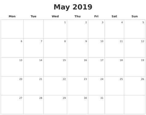 May 2019 Make A Calendar
