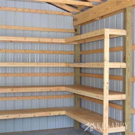 Shop Storage Shelves by Diy Corner Shelves For Garage Or Pole Barn Storage
