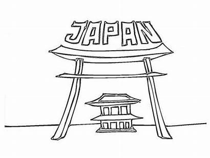 Coloring Japan Temple Sheet