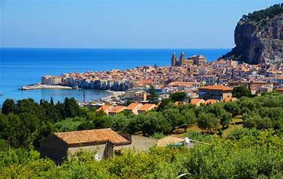 Sicily Italy Cefalu Sea Wallpapers Town Mountain