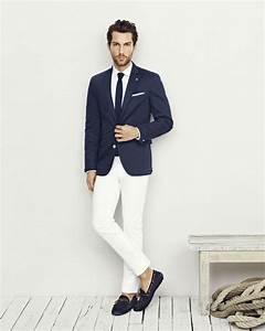 Navy Blue Blazer Jacket White Pants White Shirt Navy Blue Knit Tie | Menu0026#39;s White Pants ...
