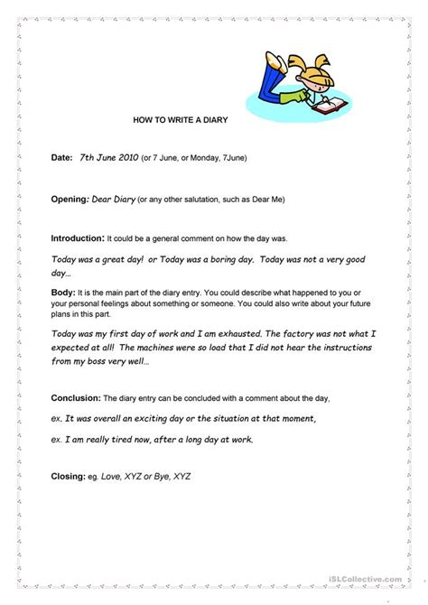 How To Write A Diary Worksheet  Free Esl Printable Worksheets Made By Teachers