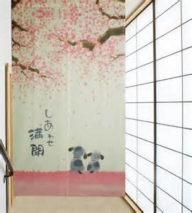 Cherry Blossom Curtain Rod by Happiness Cherry Blossom And Dogs Japanese Noren Door