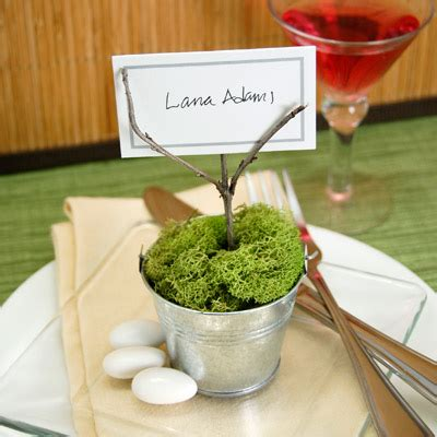 do it yourself wedding place card holder ideas potted moss place card holder